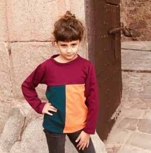 Camiseta Combinada Color Burdeos