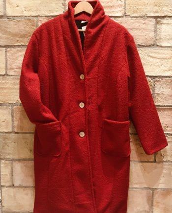 Abrigo largo rojo con polar